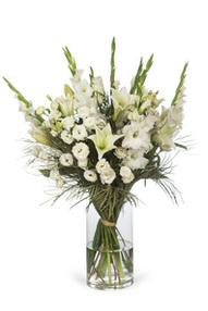 זר ניצן- זר גדול לבן קלאסי ,סייפנים ושושן (הפרחים מגיעים סגורים כמו בתמונה הפנימית)